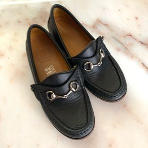 Gucci Kids Black Leather Horsebit Loafers